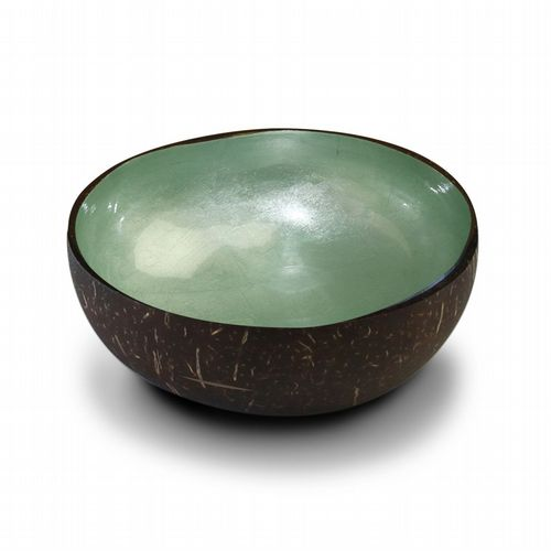 Coconut Bowl - Metallic Leaf - Mint Green